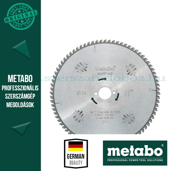 Metabo Körfűrészlap 254 mm