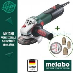 """Metabo W 9-125 Sarokcsiszoló + gyémánt fúrókorona-készlet """"dry"""" (3 db-os – 35, 50, 68 mm) + Pro gyémánt darabolótárcsa"""
