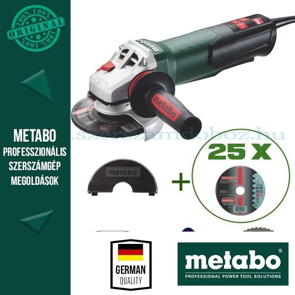 Metabo W 12-125 Quick Sarokcsiszoló + 25 db Flexiarapid-inox darabolótárcsa + Clip daraboló védőbura
