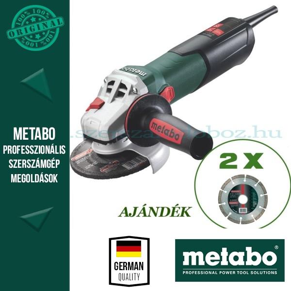 Metabo W 9-125 Sarokcsiszoló + 2 db gyémánt darabolótárcsa