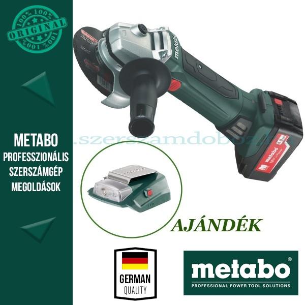 Metabo W 18 LTX 125 Quick Akkus sarokcsiszoló + AJÁNDÉK PA 14,4-18 LED-USB adapter