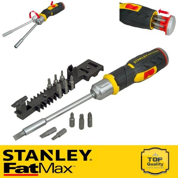 Stanley FatMax Pisztoly fogantyús racsnis csavarhúzó 12 bittel