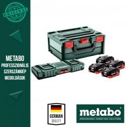 METABO Alapkészlet (4x 18 V/10,0 Ah akku + ASC 145 DUO Gyorstöltő + metaBOX 215 koffer)