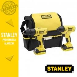 STANLEY FMCK062SS2-QW FATMAX Akkumulátoros gépcsomag szövettáskában, 10.8V (FMC021 + FMC041 + 2 x 1,5 Ah akkuval és töltővel)
