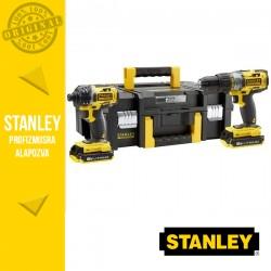 STANLEY FMCK461D2T-QW FATMAX Akkumulátoros gépcsomag kofferben, 18V (FMC625 + FMC645 + 2x 2,0 Ah akkuval és töltővel)