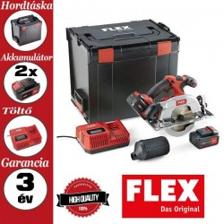 FLEX CS 62 18.0-EC/5.0 SET Akkus körfűrész szett, védő burával, 18,0 V (2x 5.0 Ah akkuval és töltővel)