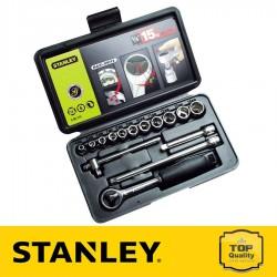 """Stanley 15 részes 1/4"""" Drive metrikus dugókulcs készlet"""