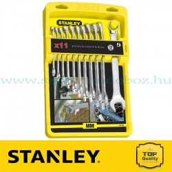 Stanley 11 db-os Hosszú paneles, krómozott csillag-villáskulcs készlet