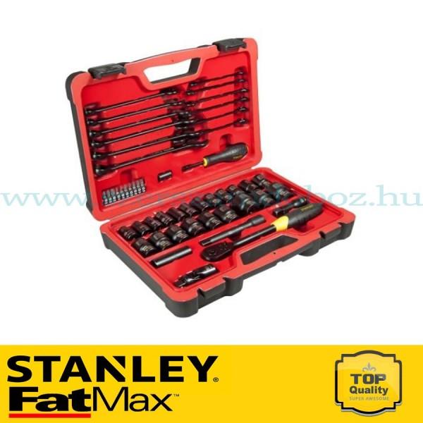 """Stanley FatMax 50 részes 1/2"""" és 1/4"""" matt fekete króm dugókulcs készlet"""
