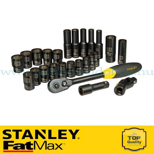 """Stanley FatMax 25 részes 1/2"""" matt fekete króm dugókulcs készlet"""