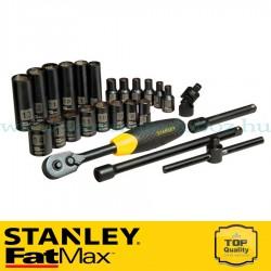 """Stanley FatMax 25 részes 1/4"""" matt fekete króm dugókulcs készlet"""