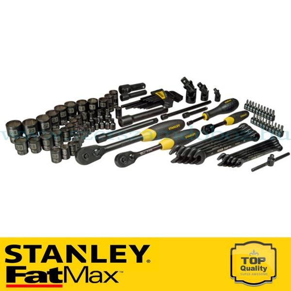 """Stanley FatMax 96 részes 3/8"""", 1/2"""" és 1/4"""" matt fekete króm dugókulcs készlet"""