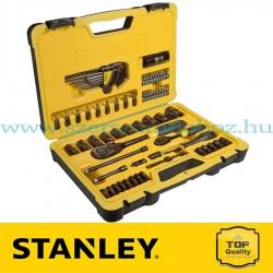 """Stanley 75 részes 1/2"""" és 1/4"""" fekete króm dugókulcs készlet"""