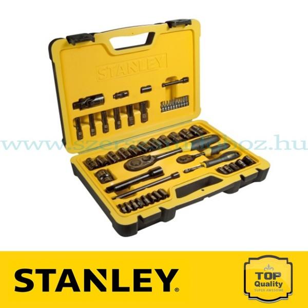 """Stanley 50 részes 1/2"""" és 1/4"""" fekete króm dugókulcs készlet"""