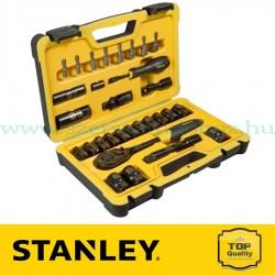 """Stanley 30 részes 1/2"""" fekete króm dugókulcs készlet"""