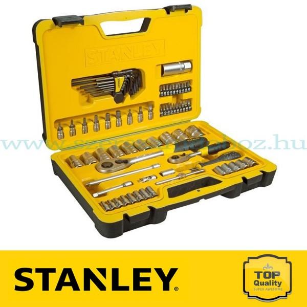 """Stanley 75 részes 1/2"""" és 1/4"""" selyemfényű króm dugókulcs készlet"""