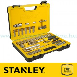 """Stanley 50 részes 1/2"""" és 1/4"""" selyemfényű króm dugókulcs készlet"""