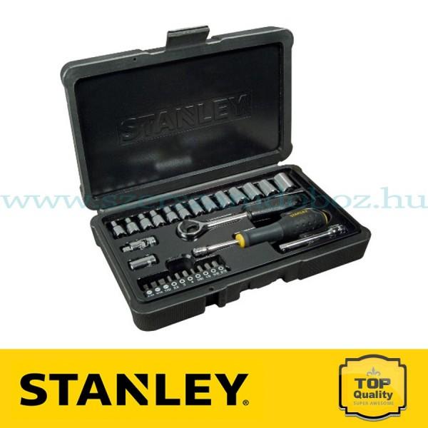 """Stanley 28 részes 1/4"""" fényes króm dugókulcs készlet"""