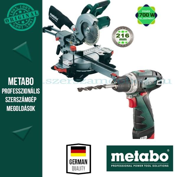 Metabo KGSV 216 M Fejező -és gérvágórűrész + Metabo PowerMaxx BS Akkus fúrócsavarozó