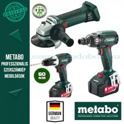 Metabo SSW 18 LTX BL 400 Akkus ütvecsavarbehajtó + W 18 LTX 125 Akkus sarokcsiszoló + BS 18 LT Fúró-csavarbehajtó