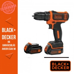 BLACK & DECKER BDCDD12KB-QW Li-Ion Akkus fúrócsavarozó, 2 db 1,5 Ah akkumulátor, 2 perselyes gyorstokmány, kofferrel