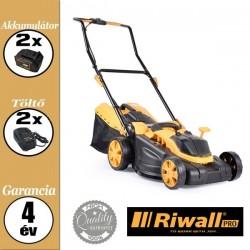 Riwall RALM 3820 SET Akkus fűnyíró szénkefe nélküli motorral, 40 V (2 x 20V), (2 x 20V 4,0 Ah akkuval és 2x töltővel)