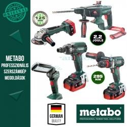 Metabo Akkus gépcsomag 18 V (csavarbehajtók, kombikalapács, sarokcsiszoló, lámpa)