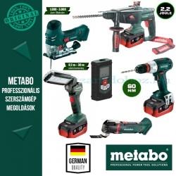Metabo Akkus gépcsomag 18 V (csavarbehajtó, kombikalapács, szúrófűrész, multiszerszám, távolságmérő, lámpa)