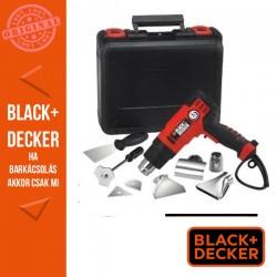 BLACK & DECKER Magas teljesítményű 2000W hőlégfúvó 8 tartozékkal, folyamatosan állítható hőfokkal, kofferben