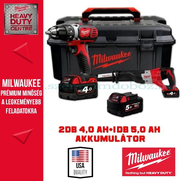 Milwaukee M18 BDD-402C Fúrócsavarozó + HD18 SX-0 Orrfűrész (3 akku + szerszámosláda)