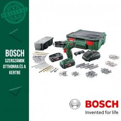 BOSCH PSB 1800 LI-2 Akkus ütvefúró (2x1,5Ah) + 241 részes tartozékkészlet + SystemBox