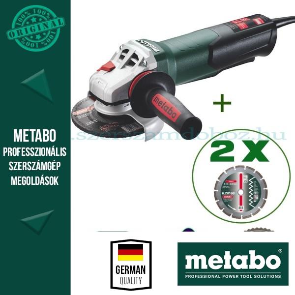 Metabo W 12-125 Quick Sarokcsiszoló + 2 gyémánt darabolótárcsa