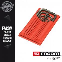 FACOM Hosszú Imbuszkulcs készlet tárcában, hatszögű, colos méretek, 10db-os készlet