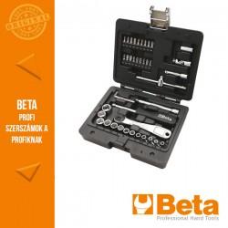 Beta 903E/C42 13 hatlapfejű dugókulcs, 18 csavarhúzóbetét, 4 hajlított imbuszkulcs és 7 tartozék műanyag dobozban