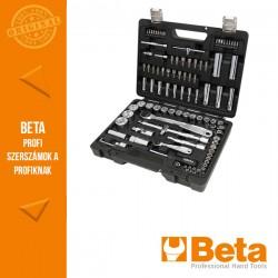 Beta 903E/C98 45 hatlapfejű dugókulcs, 35 csavarhúzóbetét, 4 hajlított imbuszkulcs és 14 tartozék műanyag dobozban