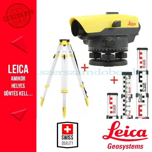 Leica NA524 Optikai szintező + szintezőléc + állvány