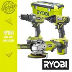 """Ryobi Power Pack 18V Akkus szett (Ütvefúró-csavarbehajtó +sarokcsiszoló +ütvecsavarozó 1/4"""")"""