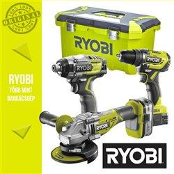 """Ryobi Power Pack 18V  Szénkefementes Akkus szett (ütvefúró-csavarbehajtó+sarokcsiszoló+ütvecsavarozó) 1/4"""""""
