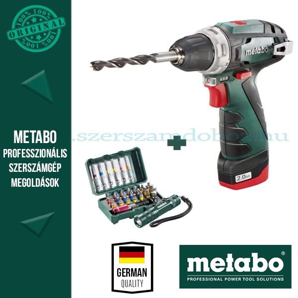 Metabo BS PowerMaxx Fúró-csavarozó + 29részes bitkészlet + zseblámpa