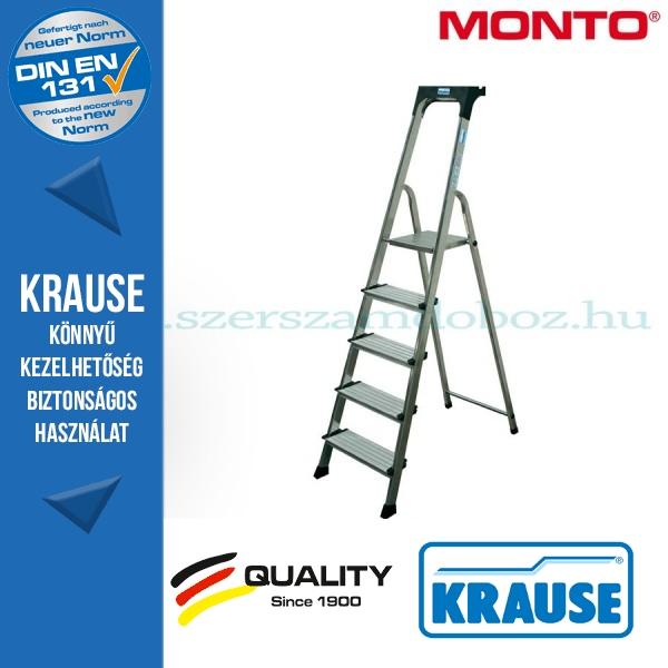Krause Monto Securo lépcsőfokos állólétra, eloxált 5 fokos