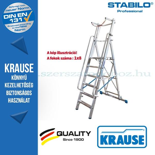 Krause Stabilo Professional lépcsőfokos állólétra nagy dobogóval és kapaszkodókerettel 8 fokos