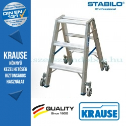 Krause Stabilo Professional lépcsőfokos két oldalon járható létra, gurítható 2x3 fokos