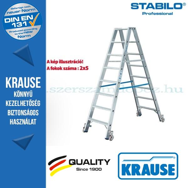 Krause Stabilo Professional lépcsőfokos két oldalon járható létra, gurítható 2x5 fokos