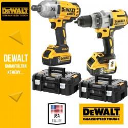 DeWalt 18V Akkus Power Pack (ütvecsavarbehajtó 3/4 + fúró-csavarbehajtó) 2x5,0Ah akku