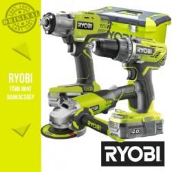 """Ryobi Power Pack 18V Akkus szett (Ütvefúró-csavarbehajtó +sarokcsiszoló +ütvecsavarozó 1/2"""")"""