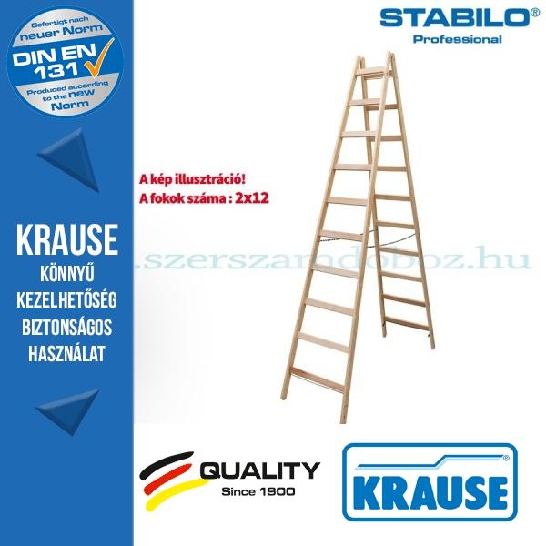 Krause Stabilo Professional két oldalon járható fa állólétra 2x12 fokos