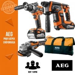 AEG 4935AKKU18BL2 18V akkus erőcsomag (Fúrókalapács + Sarokcsiszoló + Fúró-csavarozó)