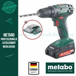 Metabo BS 18 Akkus fúró-csavarbehajtó + PA 14,4-18 LED-USB adapter