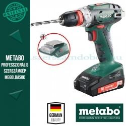 Metabo BS 18 Quick Akkus fúró-csavarbehajtó + PA 14,4-18 LED-USB adapter