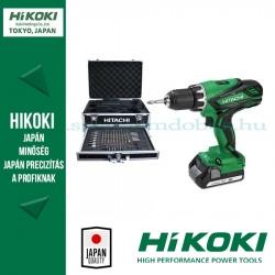 Hitachi (HiKOKI) DS18DJL Akkus Fúró-csavarbehajtó + Alu koffer 100 db-os tartozékkészlettel